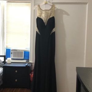 Jovani long sequence beaded dress bash and black
